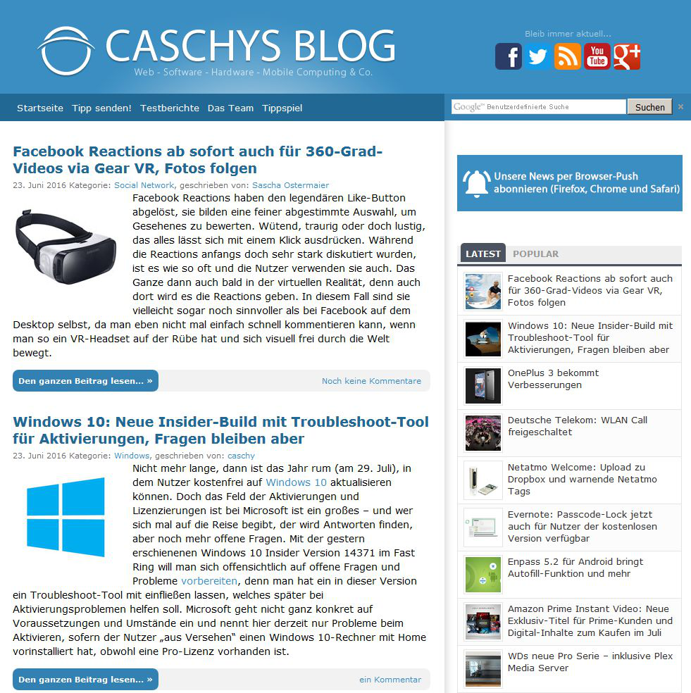 Screenshot: Caschys Blog - Stadt Bremerhaven