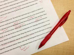 Rechtschreibfehler werden in der Schule rot markiert